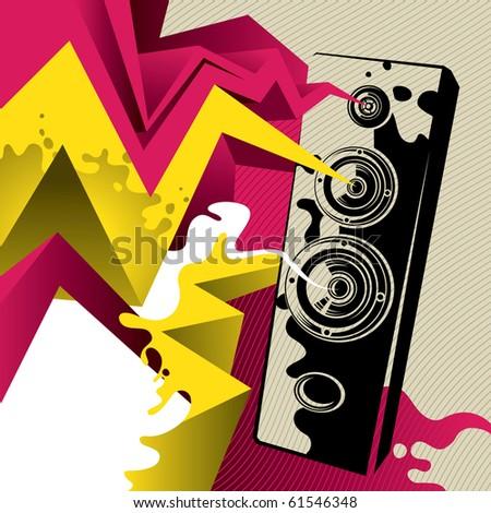 Artistic banner with giant speaker. Vector illustration. - stock vector
