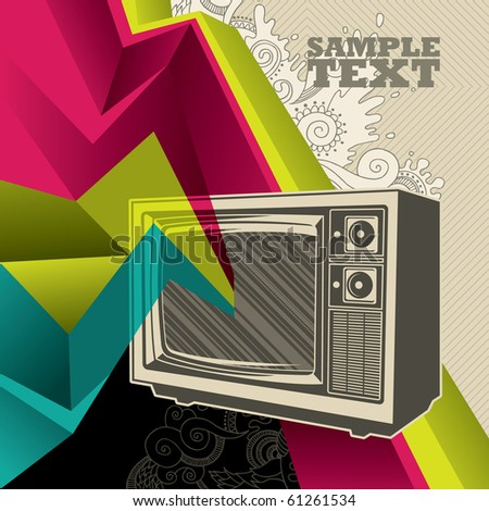 Artistic banner with retro tv. Vector illustration. - stock vector