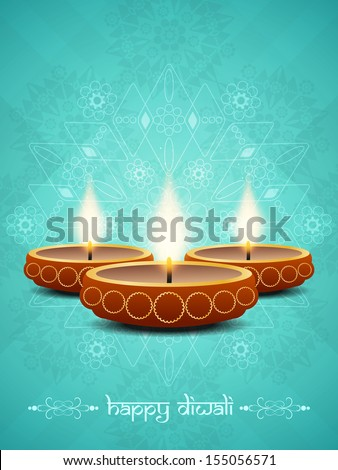artistic blue color background design for diwali festival with beautiful lamps. vector illustration - stock vector