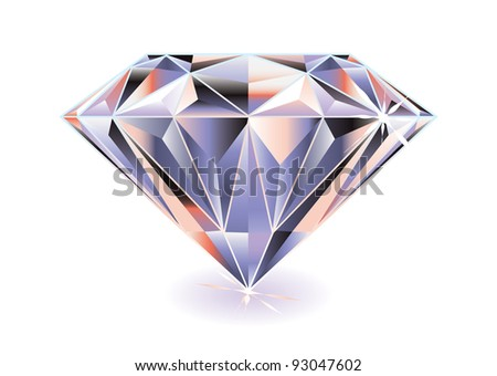 Artistic brightly colored cut diamond with shadow and reflection - stock vector