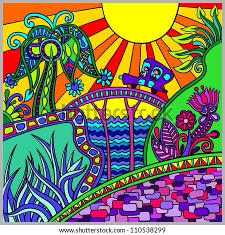 artistic colored decorative landscape composition - stock vector