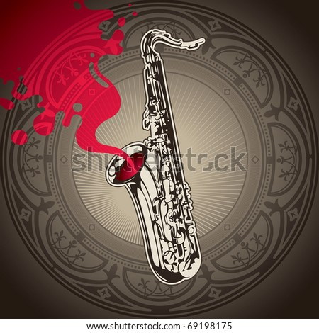 Artistic conceptual background with saxophone. Vector illustration. - stock vector