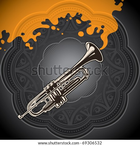 Artistic conceptual background with trumpet. Vector illustration. - stock vector