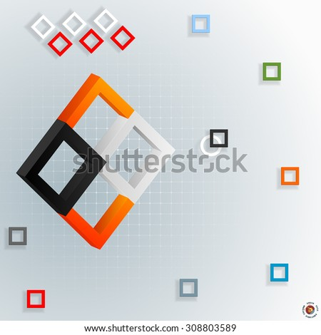 Artistic,design background ; Three dimensions composition with colorful squares on squared backdrop; Large space for text - stock vector