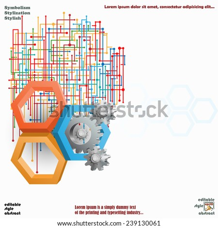 Artistic design of three dimensions hexagons with cog wheels and colorful web  in interesting arrangement as background.  - stock vector