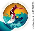 Artistic designed background with surfer. Vector illustration. - stock vector