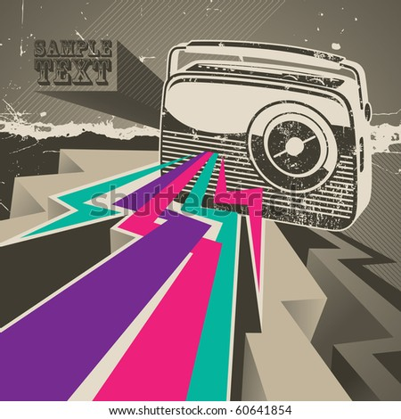 Artistic designed banner with retro radio. Vector illustration. - stock vector