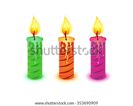 artistic detailed colorful candles vector illustration - stock vector