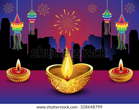 artistic detailed diwali night background vector illustration - stock vector