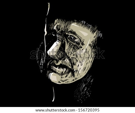 Artistic Drawing Illustration of Adult Man Face in the Darkness - stock vector