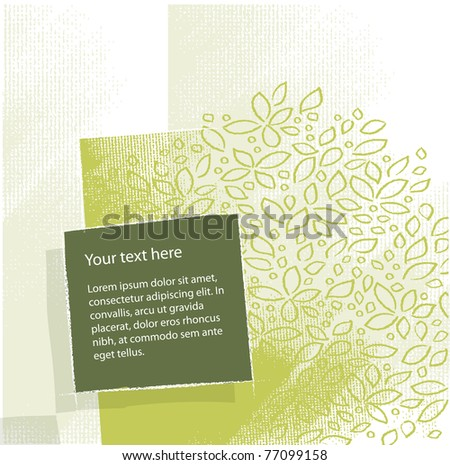 artistic floral background, textured grunge background, vector - stock vector