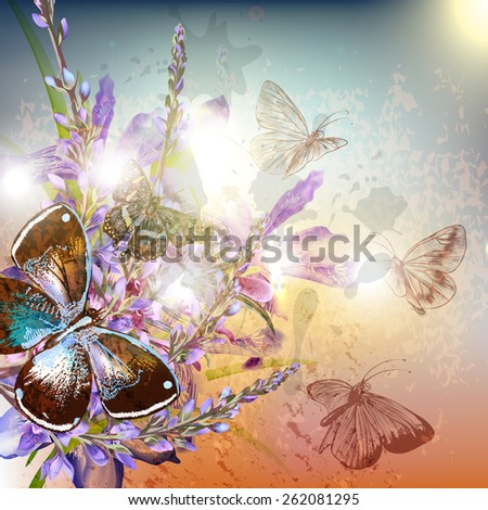 Artistic floral background with butterfly sits on flower - stock vector