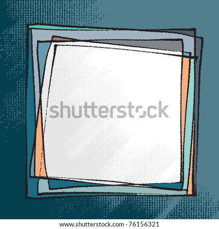 Artistic freehand frame (chalk technique, textured grunge background, vector) - stock vector