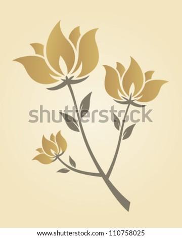 Artistic golden flower branch - stock vector