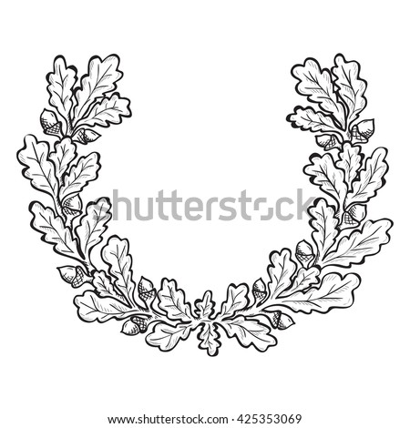 Artistic hand drawn illustration of oak wreath, ink drawing imitation - stock vector
