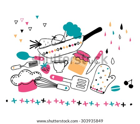 artistic hand drawn kitchen illustration