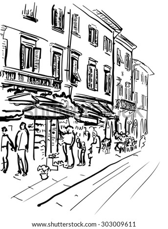 Artistic hand-drawn sketch of street in Italy