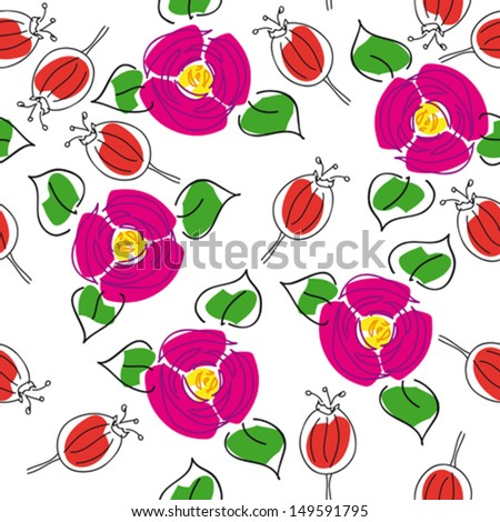 artistic handmade seamless floral background with rose hips and canker-blooms for textile design,  and high quality print - stock vector