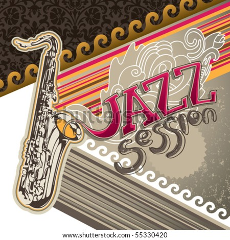 Artistic jazz banner with designed graphic elements. Vector illustration. - stock vector