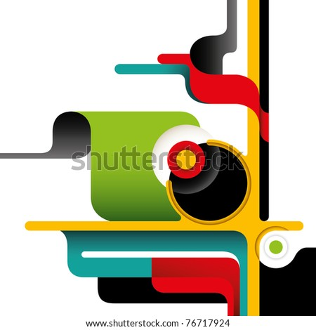 Artistic layout with designed abstract shapes. Vector illustration. - stock vector