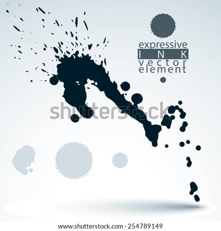 Artistic monochrome abstract dirty ink template, scanned and traced splashing decorative element. Rough grungy background. - stock vector