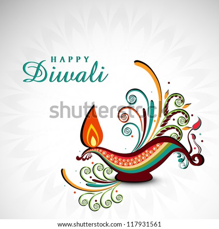 Artistic oil lamp with floral decoration for Diwali festival celebration in India. EPS 10. - stock vector
