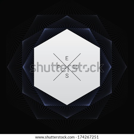 Artistic, ornamental background line graphics as hexagon shape text box for web pages, brochures, banners- blue version - stock vector