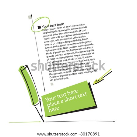 artistic page layout - pencil motive - stock vector