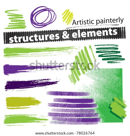 Artistic painterly grunge structures & elements (set, vector) - stock vector