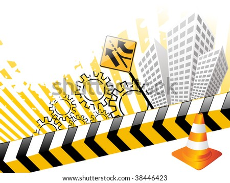artistic pattern road background with traffic cones and building