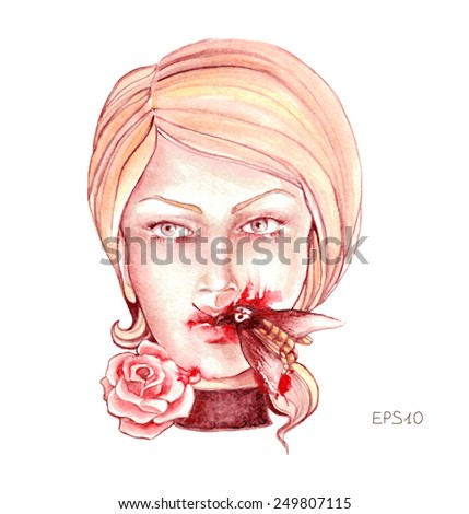 Artistic portrait of sad woman with butterfly in her mouth and blood splatters. Vectorized sketch. Isolated on white background. - stock vector