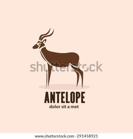 Artistic stylized antelope icon. Silhouette wild animals. Creative art logo design. Vector illustration. - stock vector