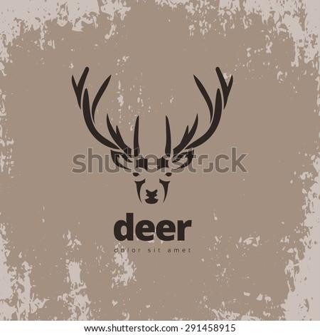 Artistic stylized deer icon. Silhouette wild animals. Creative art logo design. Vector illustration. - stock vector