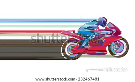 Artistic stylized motorcycle racer in motion. Vector illustration - stock vector