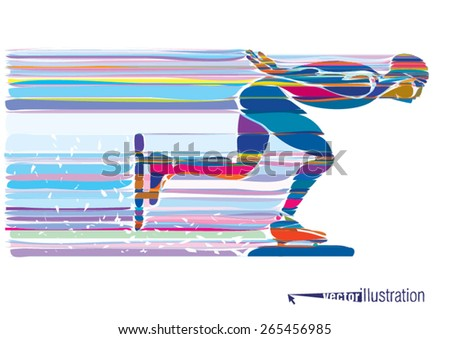 Artistic stylized skater in motion. Vector illustration - stock vector
