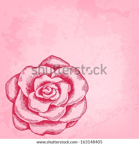 Artistic vector background with ink style hand drawn decorative rose - stock vector