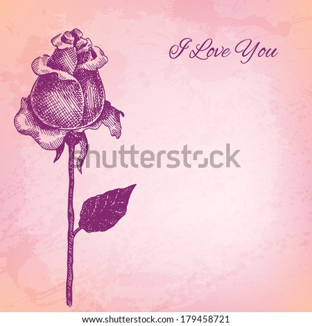Artistic vector ink style flower background for Your design - stock vector