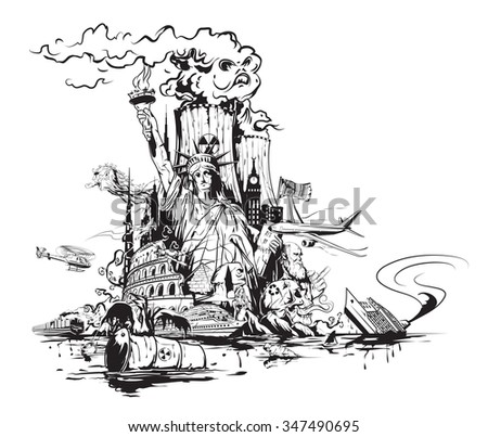 Artistic view of the modern world. - stock vector