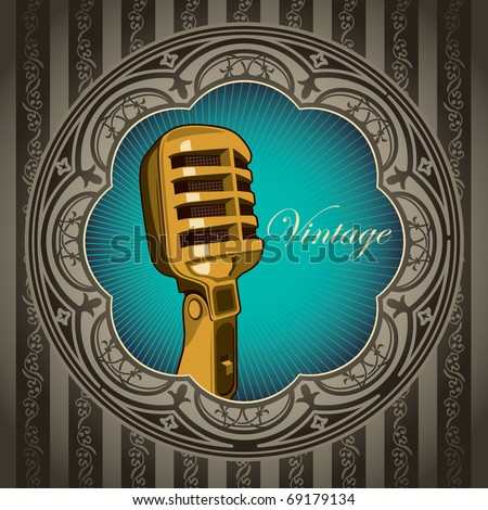 Artistic vintage banner with old microphone. Vector illustration. - stock vector