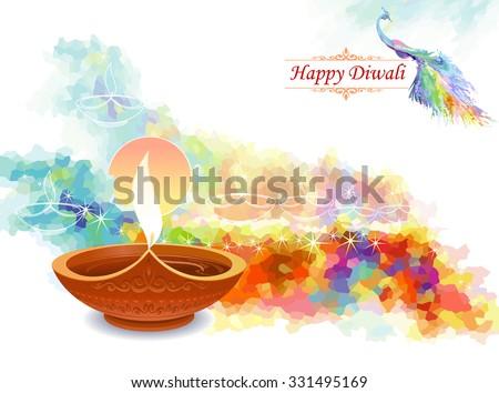 Artistic water colored diwali greeting - stock vector