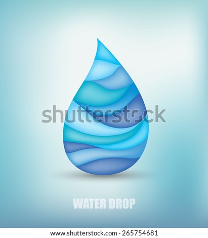 Artistic water drop on modern, blurred background. Vector eps10. - stock vector