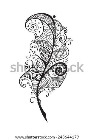 Artistically drawn, stylized, vector feather on a white background