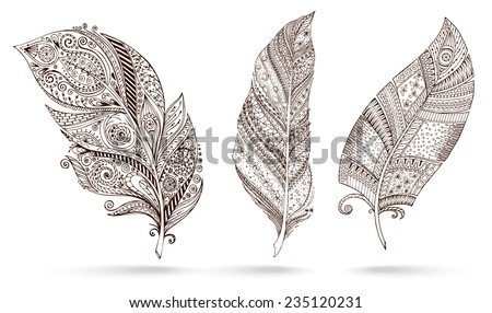 Artistically drawn, stylized, vector set of three feathers on a white background. Vintage tribal feather. Illustration is created from a personal sketch by trace. Series of doodle feather. - stock vector