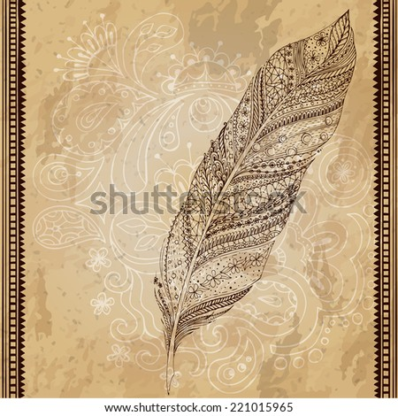 Artistically drawn, stylized, vector tribal graphic feather with hand drawn swirl doodle pattern. Grunge background. Illustration is created from a personal sketch by trace. Series of doodle feather. - stock vector