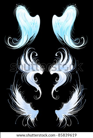 artistically painted, bright blue, the wings of angels on a black background. - stock vector