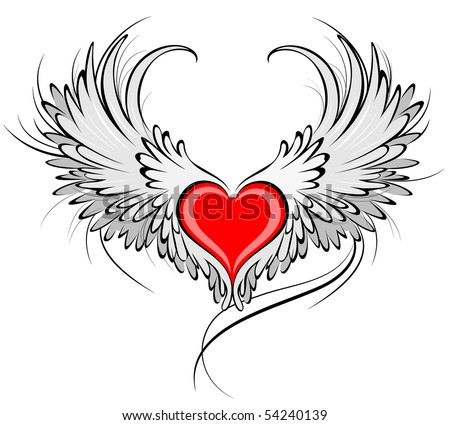 artistically painted red heart angel wings stock vector 54240139 rh shutterstock com heart with angel wings tattoo angel wings heart pandora charm