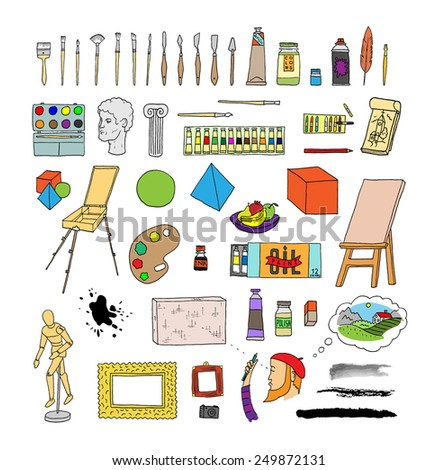 Artists supplies, painter tools and equipment collection - stock vector