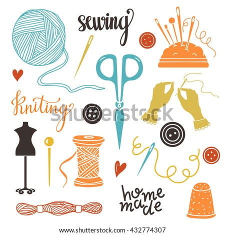 Arts crafts sewing hand drawn supplies stock vector for Arts and crafts logo