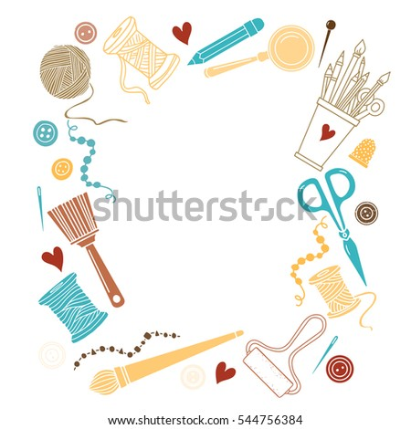 Arts And Crafts Sewing Hand Drawn Supplies Tools Design Elements Icons Set Isolated