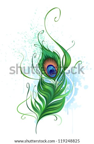 Arts painted a colorful peacock feather on a white background stained watercolor paint. - stock vector
